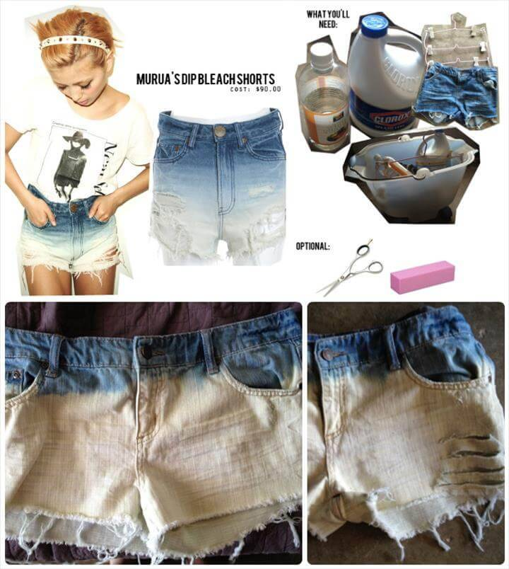 dip dye bleached summer shorts tutorial