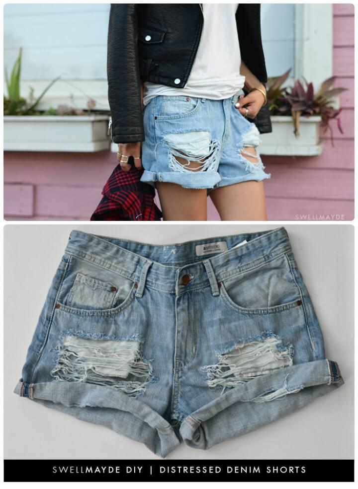 stylish distressed denim shorts