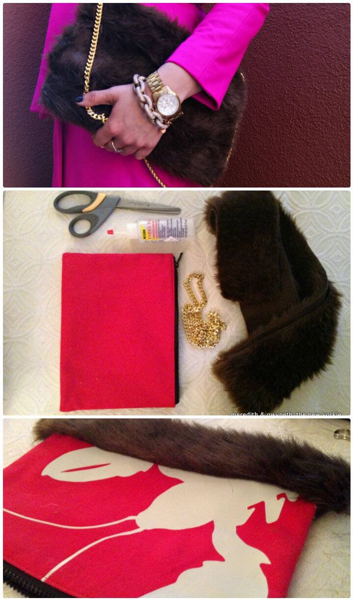 DIY faux fur winter clutch makeover