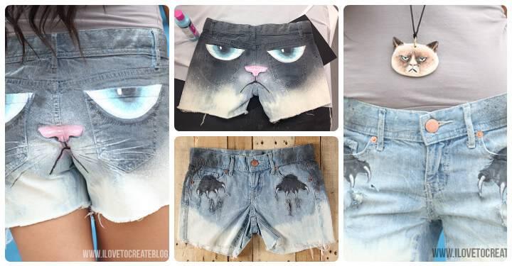 cool grumpy cat summer shorts
