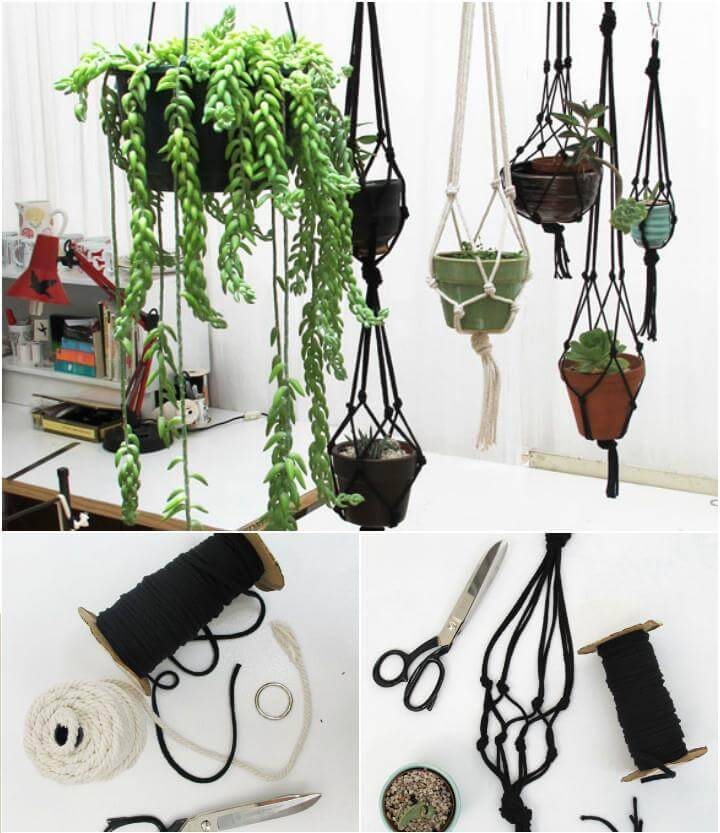 how to make hanging succulent macrame plant hangers