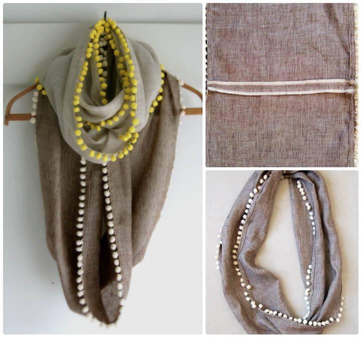 how to make stylish long pom-pom cowl