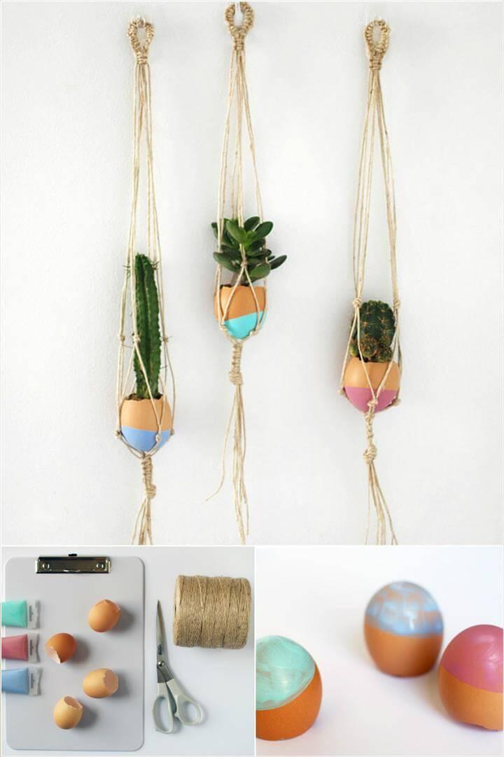 free mini macrame succulent egg plant hanger pattern