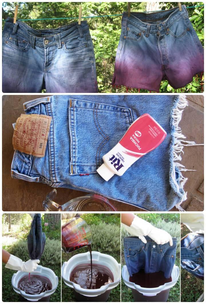 ombre denim summer shorts for girls