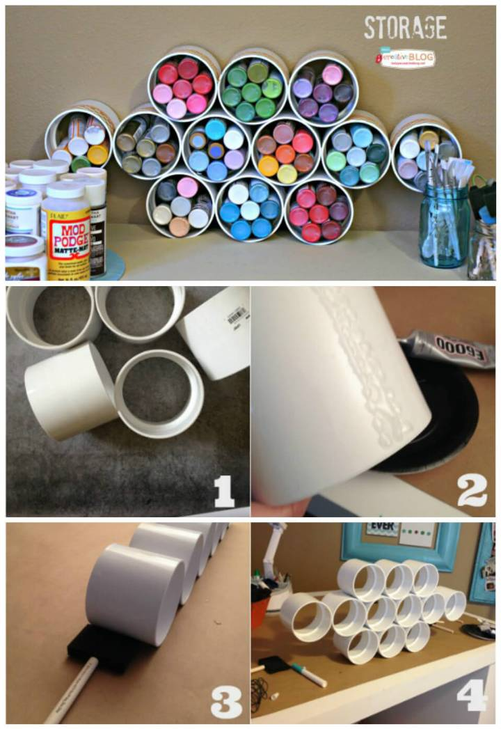 PVC pipe craft paint storage idea