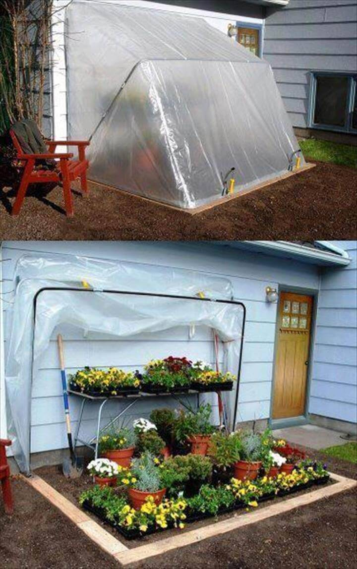 recycled PVC pipe folding down greenhouse