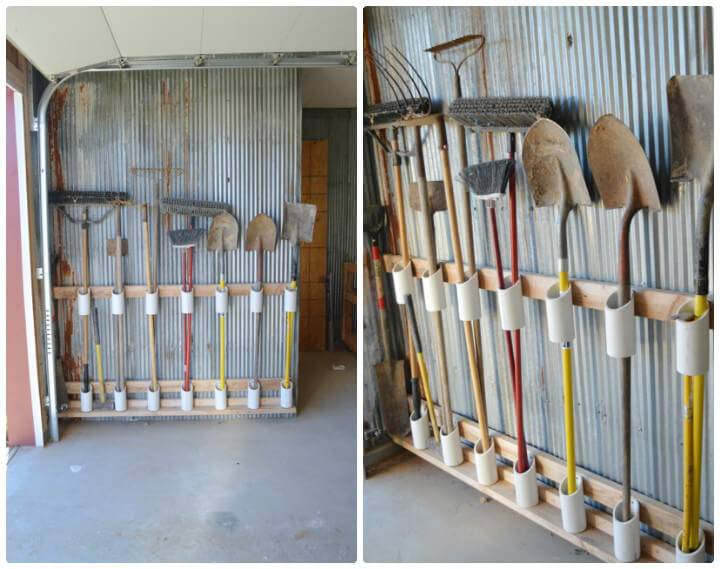 repurposed PVC pipe handled tool rack