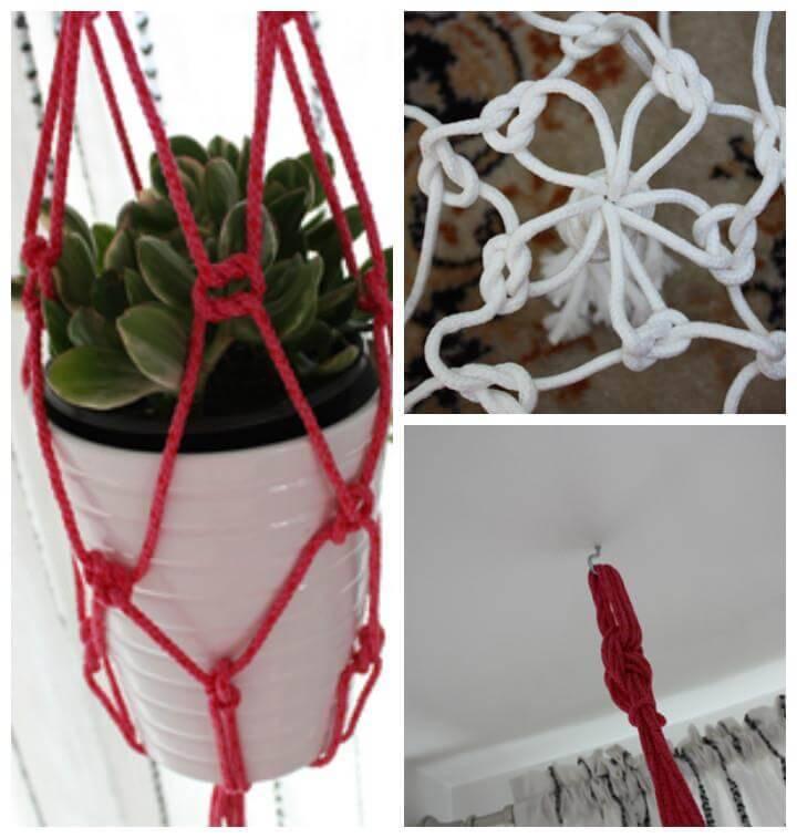 easy DIY rope plant hanger