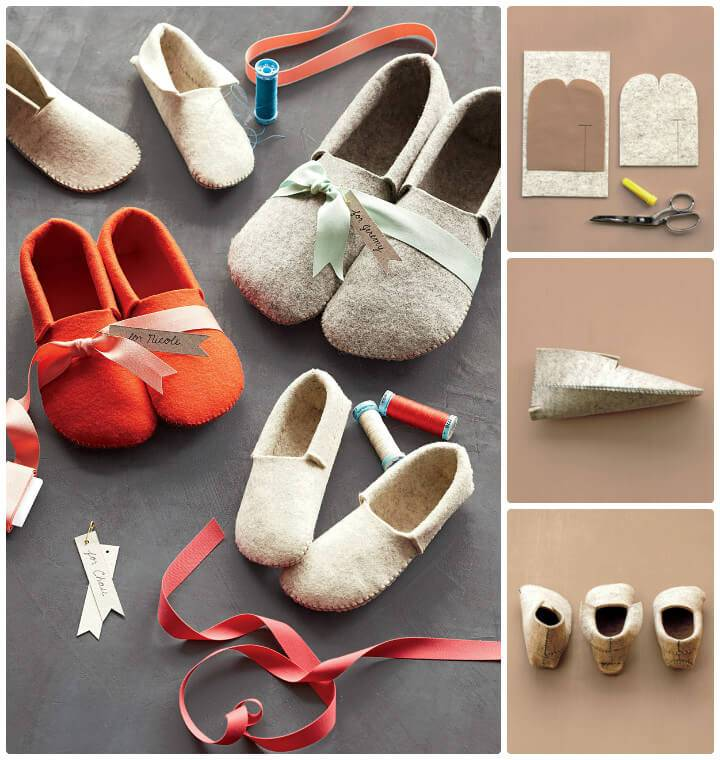 DIY sew felt winter slippers