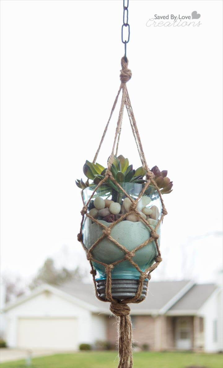 precious twine and mason jar macrame plant hanger