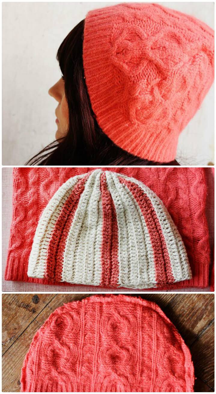 cool winter hat from a knit sweater