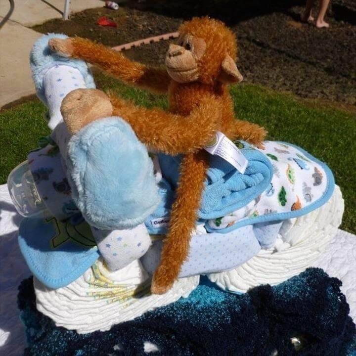 DIY diaper motorcycle cake