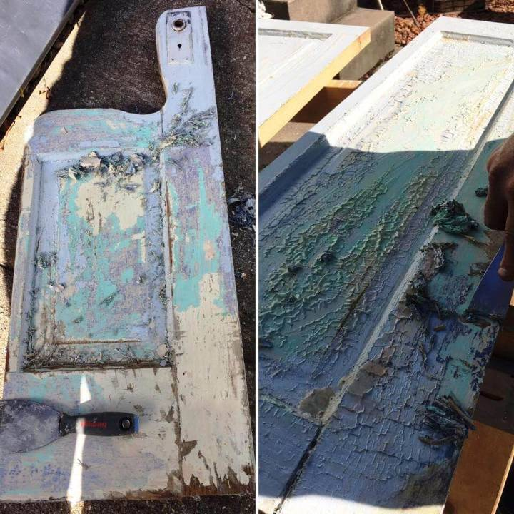 painting and distressing of old door bench
