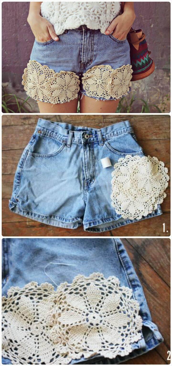 stunning doily summer shorts