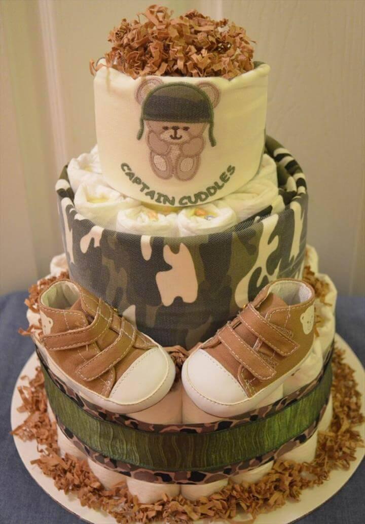 cool camo diaper cake