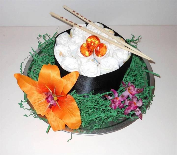 beautiful diaper cake sushi