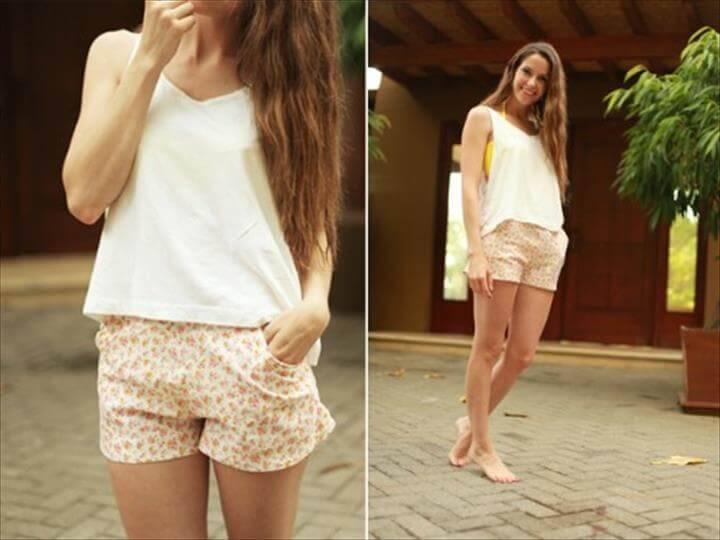 casual floral shorts DIY