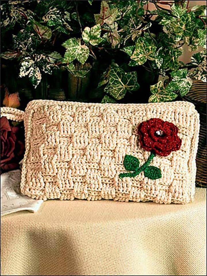 new crochet basket weave bag or clutch