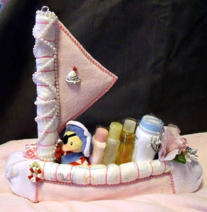 awesome sailboat diaper cake