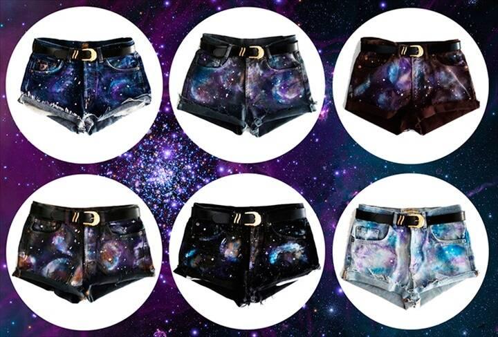 DIY galaxy jeans shorts