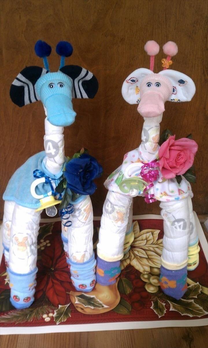handsome diaper giraffe baby shower decors