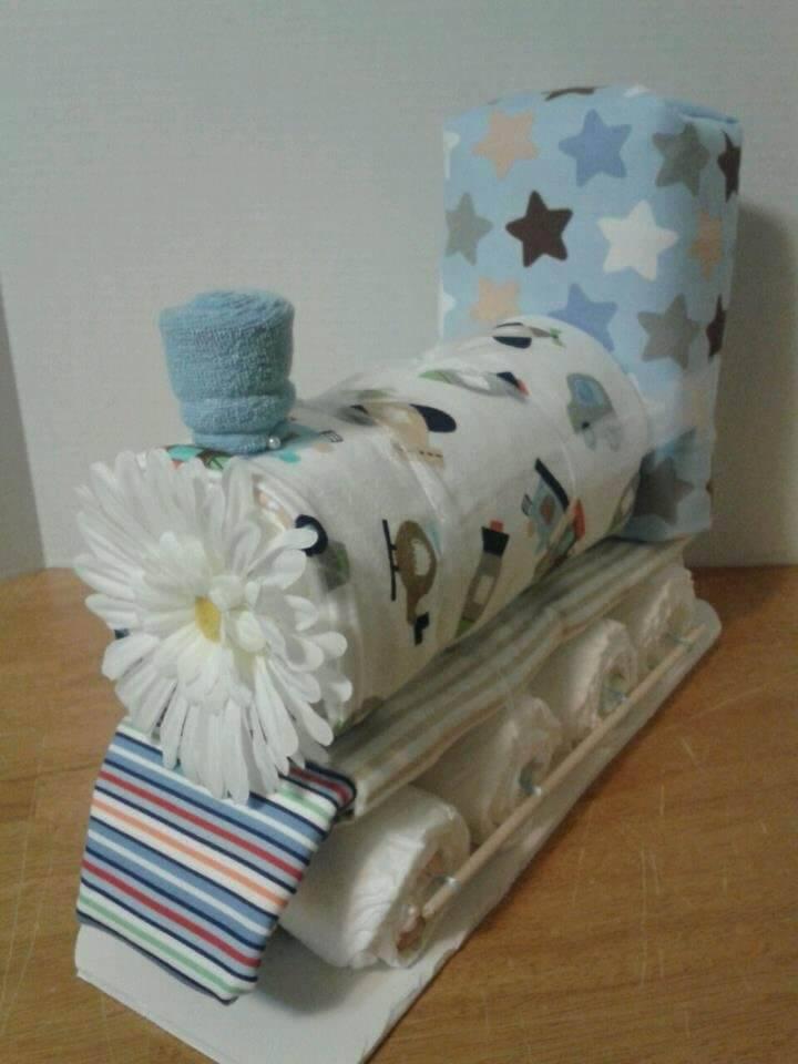 inspiring train diaper cake