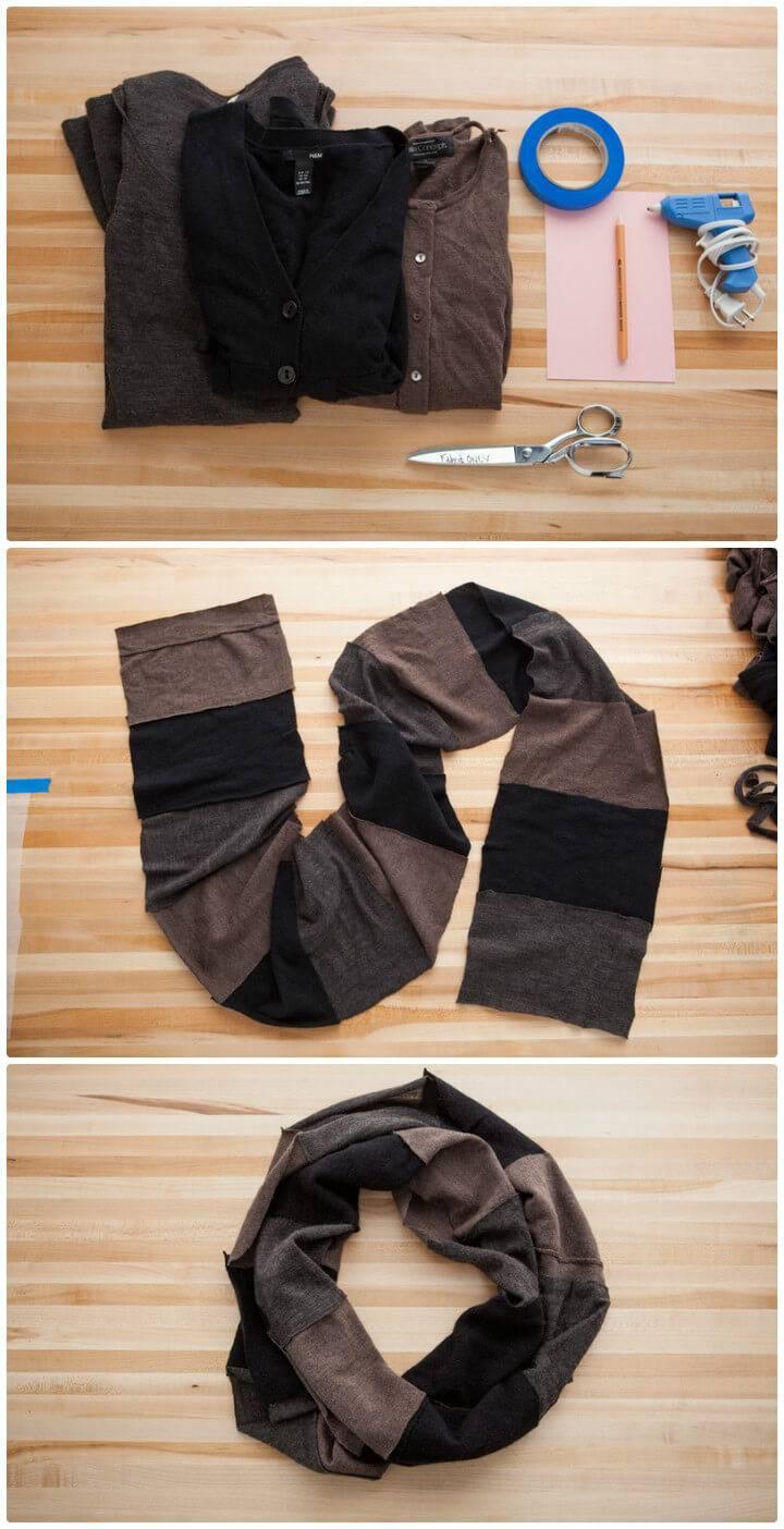 DIY turn an old sweater into no-sew circle scarf