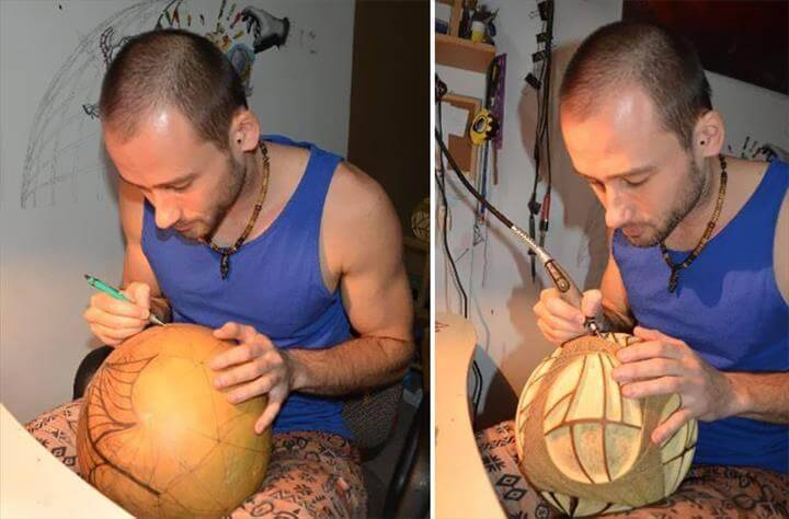 cool carved African gourd lamp