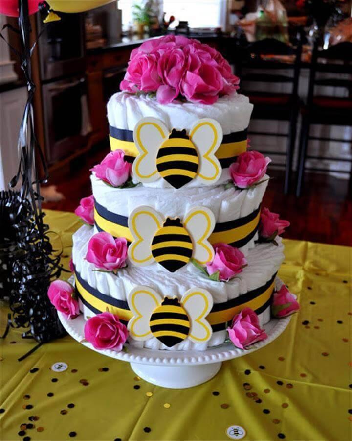 DIY bee themed diaper cake