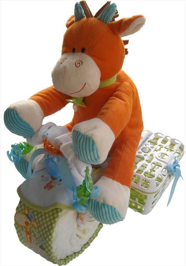 funky motorcycle diaper cake