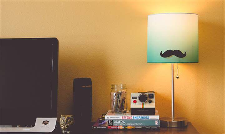 customized mustache lampshade makeover