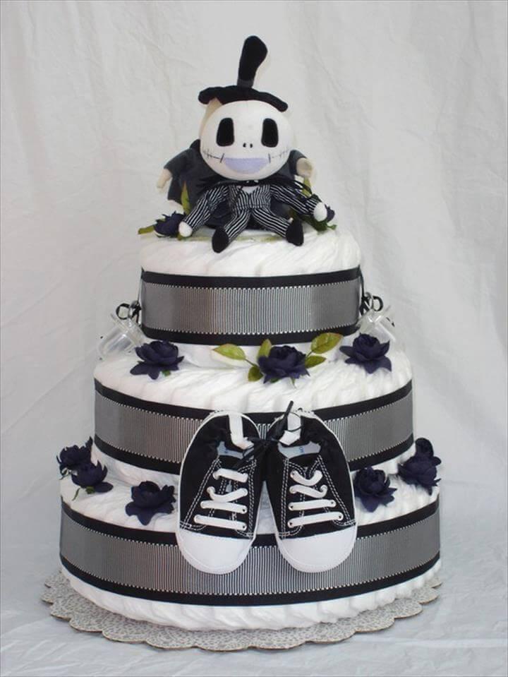 black & white diaper nightmare cake before christmas