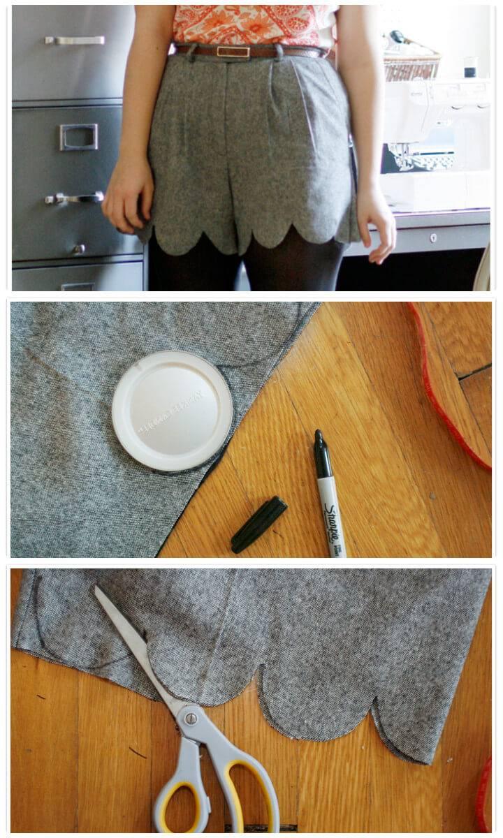 no-sew DIY scalloped shorts