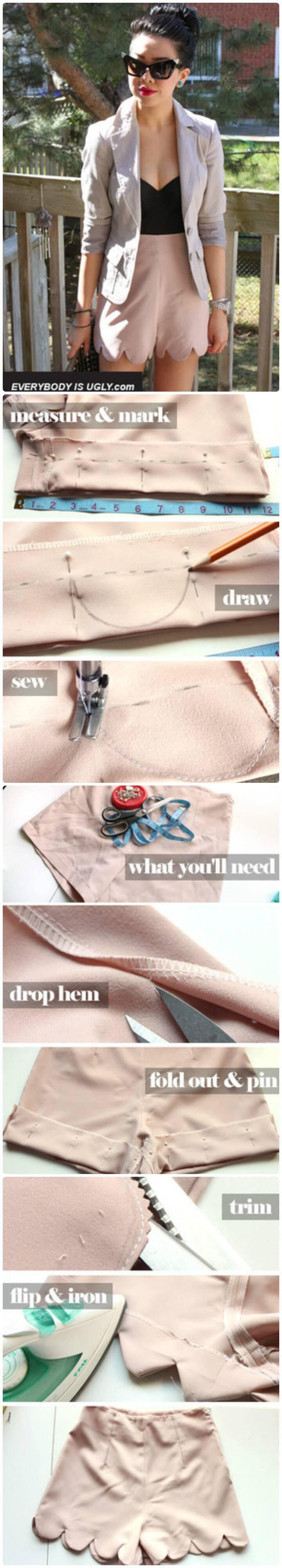 DIY peach scalloped shorts