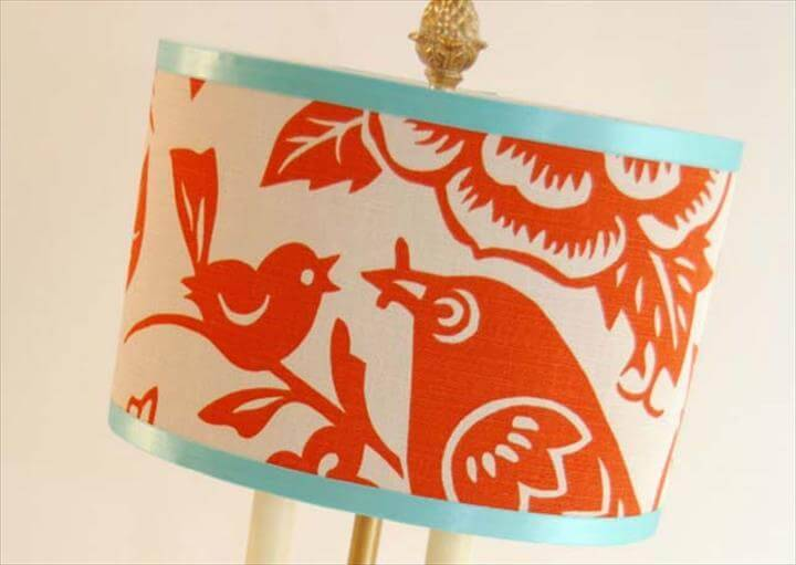 printed fabric and ribbon lampshade makeover