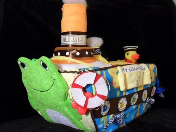 diy rubber duckie diaper boat cake