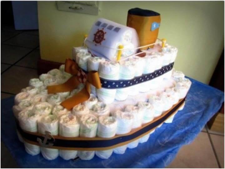 double decker ship diaper cake