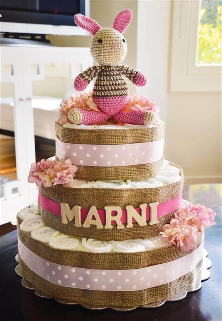 3 tier burlap wrapped diaper cake