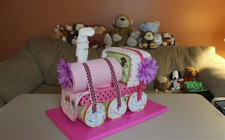 awesome train diaper cake