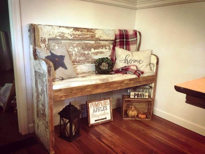 mid century wooden bench made with an old door