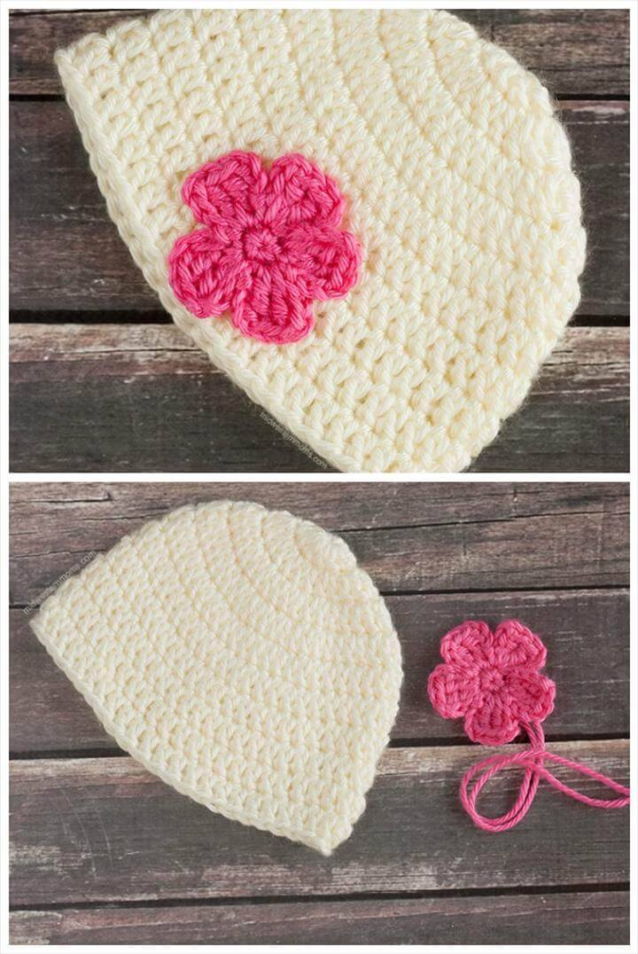 simple yet adorable crochet flower baby hat