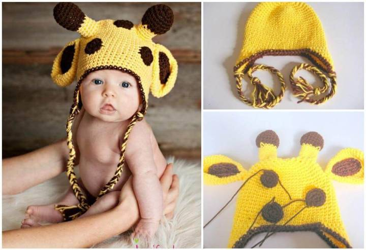 easy crochet giraffe baby hat pattern