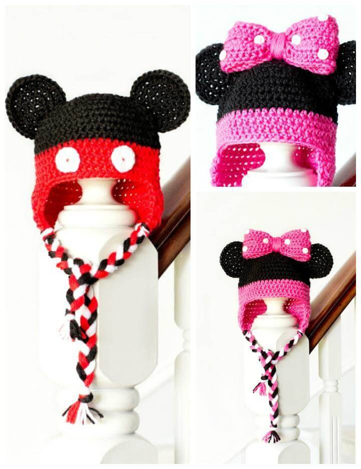 free crochet minnie mouse baby hat pattern
