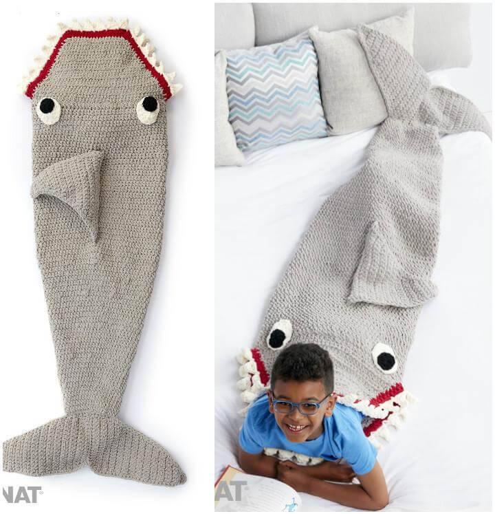 crochet shark mermaid blanket for boys