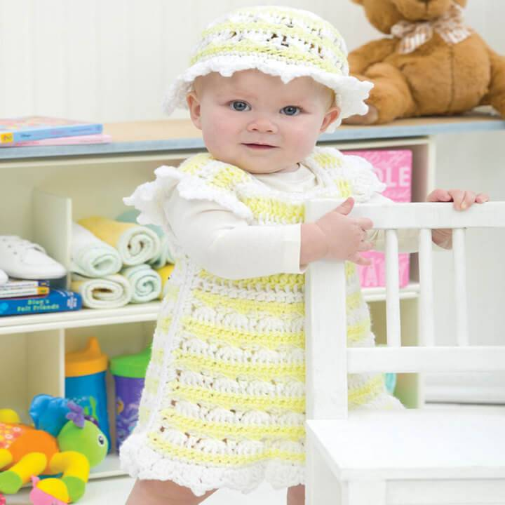 cool spring time baby dress and matching hat pattern