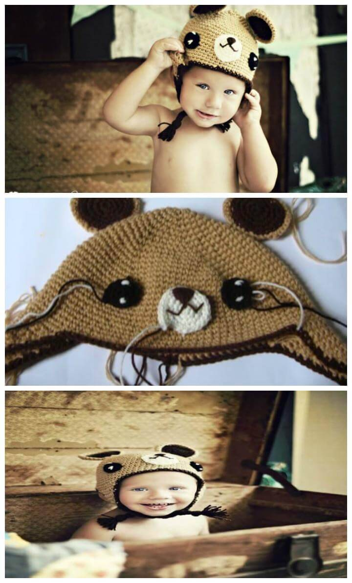 adorable crochet teddy bear baby hat