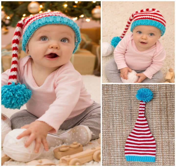 funky baby crochet elf hat