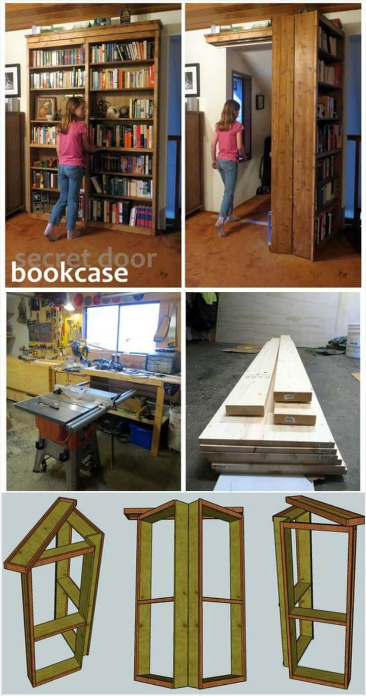 hand-built secret door bookshelf