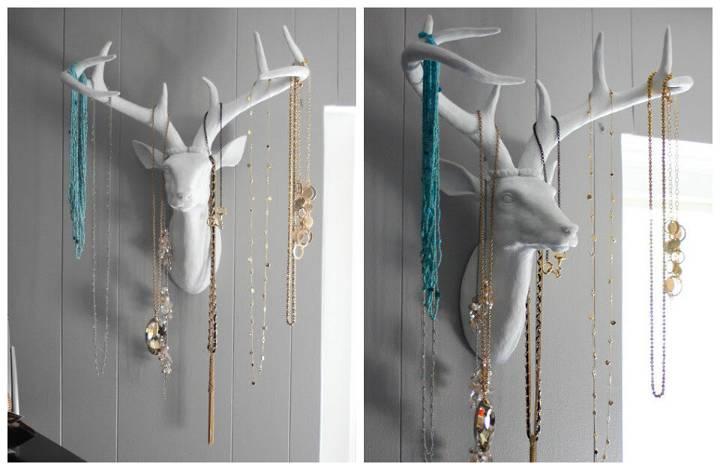 DIY art style antler or dear head jewelry organizer