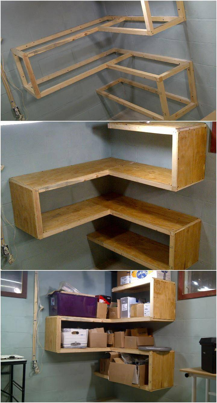 hand-built art style corner shelves